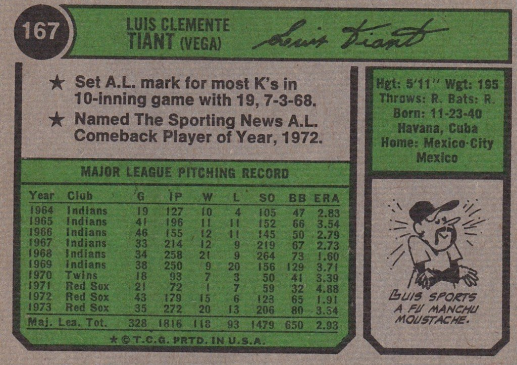 Luis Tiant Fun Facts 1974 Baseball card